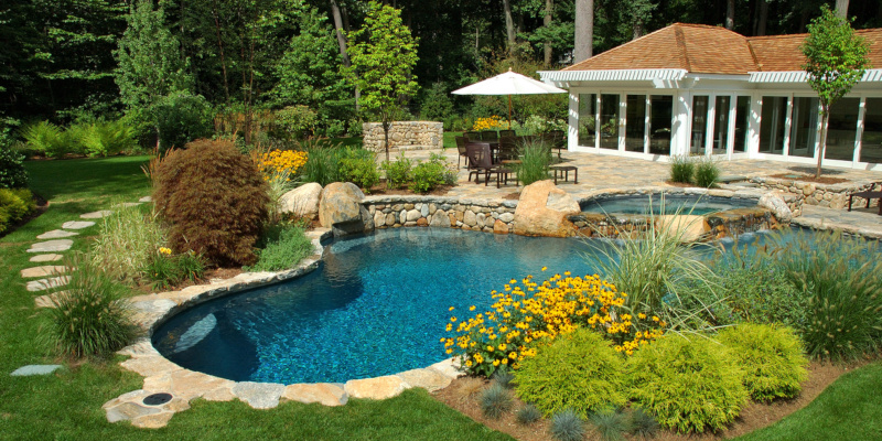 pool landscaping that provides a nice fragrance